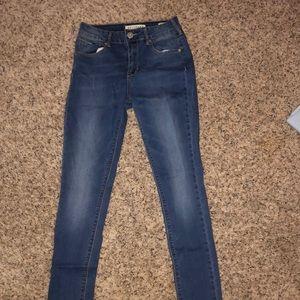 High waisted blue denim skinny jeans